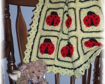 Lady Bug Hugs Crochet Baby Afghan or Blanket Pattern PDF - INSTANT DOWNLOAD.