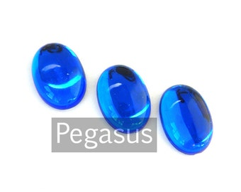 Sapphire Blue Acrylic Crystal Oval Cabochon (6 Pieces, 3 color option) Color Resin Flatback Gem for costume jewelry,larp armor,wedding favor