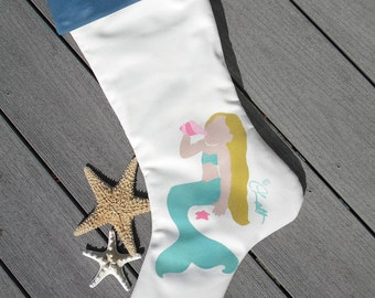 "Christmas stocking little mermaid 24"" (61cm) merfolk coastal merpeople beach ocean Crabby Chris Original"