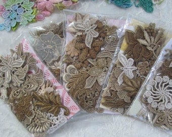 Crazy Quilt Vintage Coffe Tea Stained Look Lace Appliques