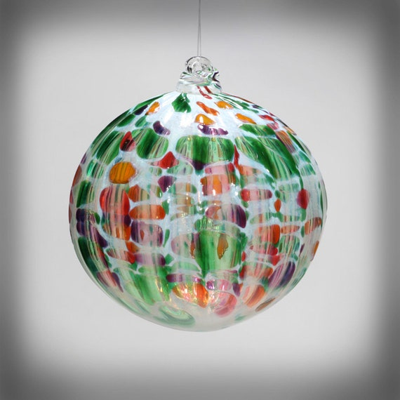 Hand Blown Glass Christmas Tree Ornaments : Hand blown glass christmas ornament suncatcher ball multi