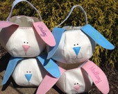 Personalized Easter BASKET Bunny pink blue or white Embroidered Monogrammed Custom Designed