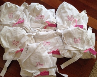 Set of 10 Child Kids Embroidered Monogram Bath Spa Robe - Great for Birthday Parties