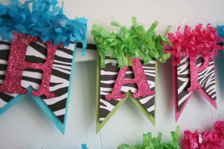 Zebra Birthday Banner Birthday Decoration Birthday Garland