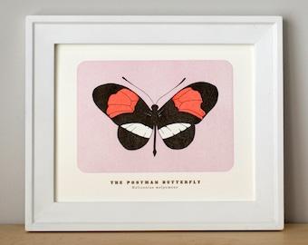 Postman Butterfly, Letterpress Art Print