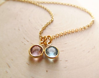 Tiny Birthstone Necklace, Gold Swarovski Birthstones, Couple Newlywed Necklace, Family Birthstone, Gold Mom Necklace, Mothers Day Jewelry