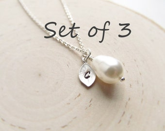 Bridesmaid Gift Set of 3, Silver Personalized Necklace, Teardrop Pearl with Initial Charm, Wedding Jewelry, Silver Pearl Jewelry, Bridal