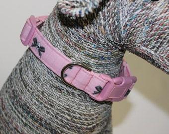 Skull and Crossbones Dog Collar, Pink Dog Collar, Pet Collar, Handmade Dog Collar, Pet Supplies