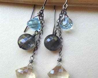 Multi gemstone earrings, long dangle earrings, multi stone earrings, blue topaz, labradorite, scapolite oxidized silver earrings, handmade