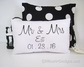 Mr and Mrs with Wedding Est Date Mini Pillow Hand Painted 8 X 12 Made in Canada