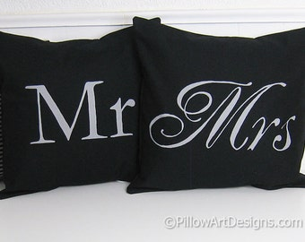 Mr and Mrs Pillow Covers Black and Grey Hand Painted Fully Lined 16 X 16 Made in Canada