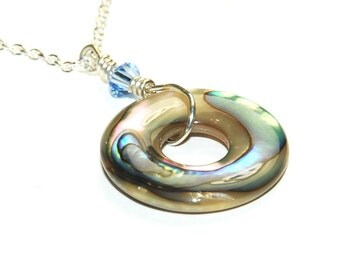 Abalone Necklace - Long Sterling Silver Necklace - Abalone Circle - Shell Jewelry - Beach Jewelry
