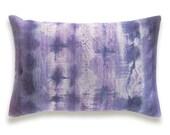 Purple Violet Mauve Beige Decorative Lumbar Pillow Cover 12x18 inch Natural Linen One Of A Kind