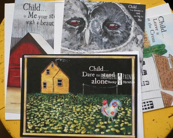 FARMGIRL PAINTS CARDS by Becky Strahle - set of four assorted cards - The 'Love Letters from God' Series