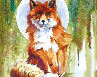 Blue Moon Fox Watercolor Art Print by Maure Bausch