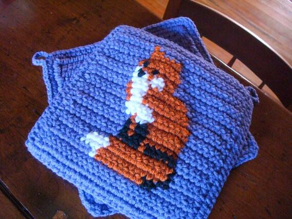 MADE TO ORDER Fox Potholders - Purple Potholders - Crochet Potholders - Orange - Woodland Kitchen Decor Animal - Crocheted Housewarming Gift