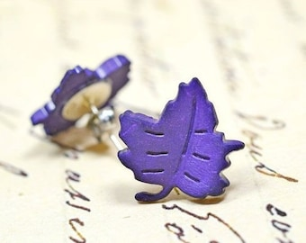 Purple Leaf Earrings / Jewel Tone Woodland Forest Inspired Studs / Fall Fashion, Autumn Trends, Whimsical Eggplant Purple Posts