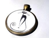Black Cat Necklace, bronze pendant on matching bronze chain black cat 1