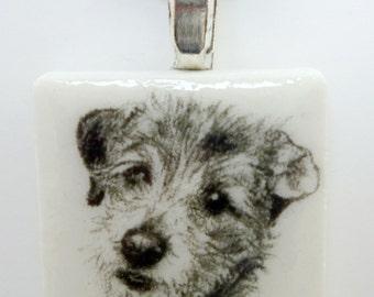 Terrier on a White Porcelain Tile Pendant