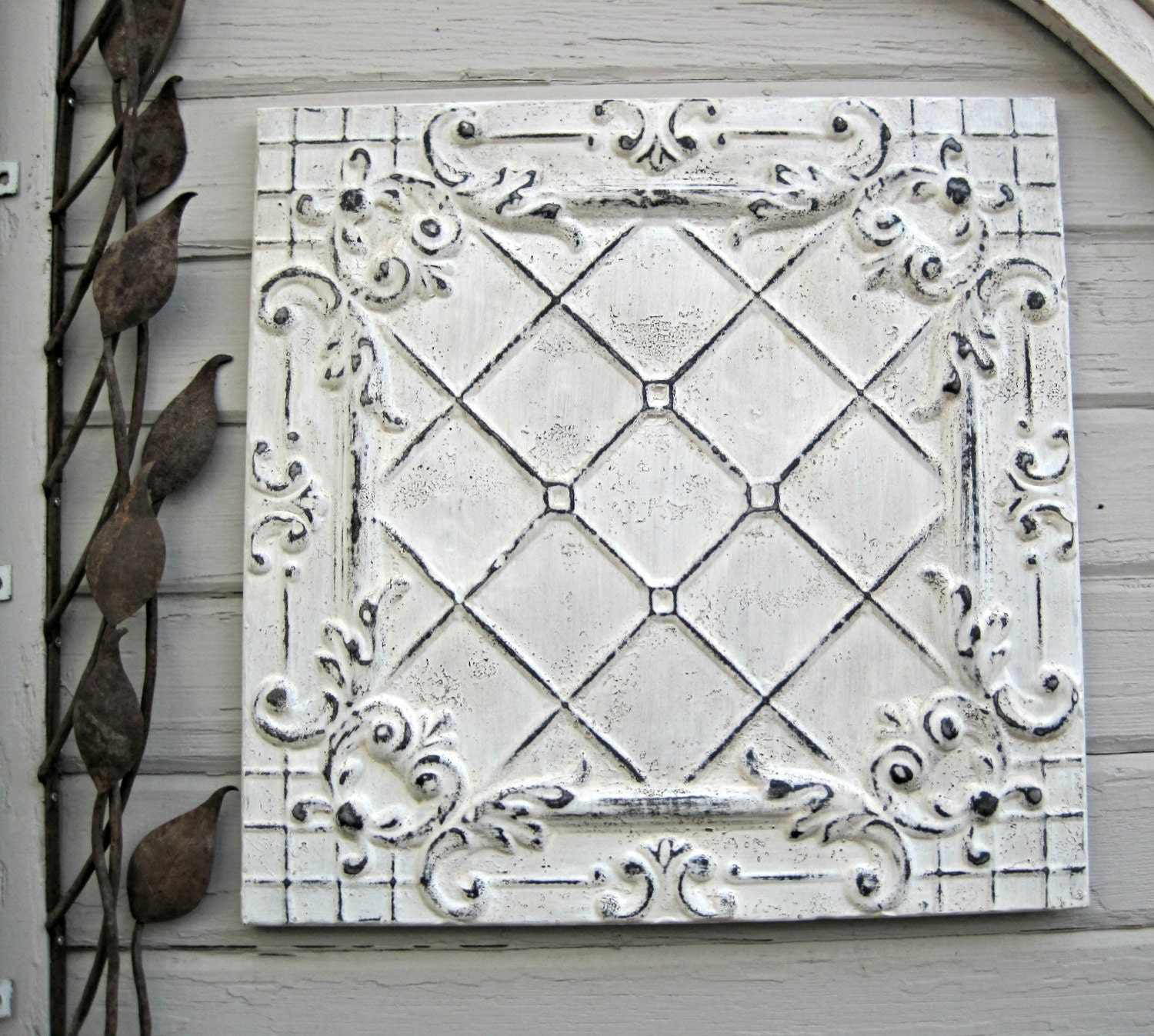 Framed 24x24 Antique Ceiling Tin Tile Circa By Driveinservice