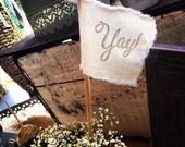 Ring Bearer Pillow - Yay Flag - Wedding Wand - Romantic - French Market - xo, j&L (WED)
