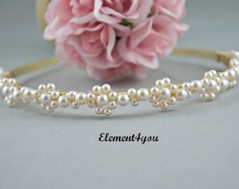 Gold Bridal Tiara, Swarovski pearls, White cream ivory pearls, Flower hairband, Pearl cluster head piece, Bridal hair piece, Head tiara