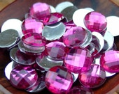 SALE:  100 pcs 10 mm Flatback Acrylic Rhinestones (Fuschia) - 50% Off