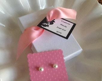 Girls Pearl earrings 6mm Swarovski perfect flower girl gift