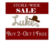 Western Cowboy Monogram Decal- Rope Styled CUSTOMIZED Name Vinyl Wall Decal Western Cowboy