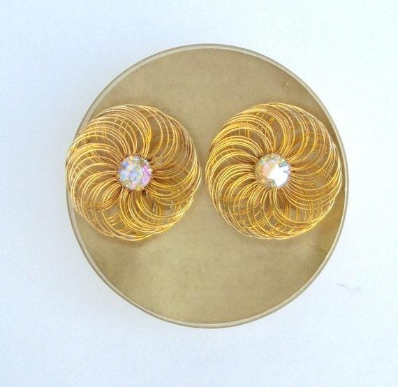 Designer Earrings Rhinestone Gold Tone Wire Clip On Vintage Sarah Coventry Original Box