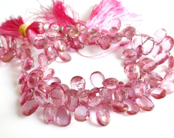 Pink Topaz Faceted Pear  Briolettes, 4 inches Half Strand 8 - 9mm approx, Coated Topaz Briolettes, Topaz beads, Dyed Topaz Beads