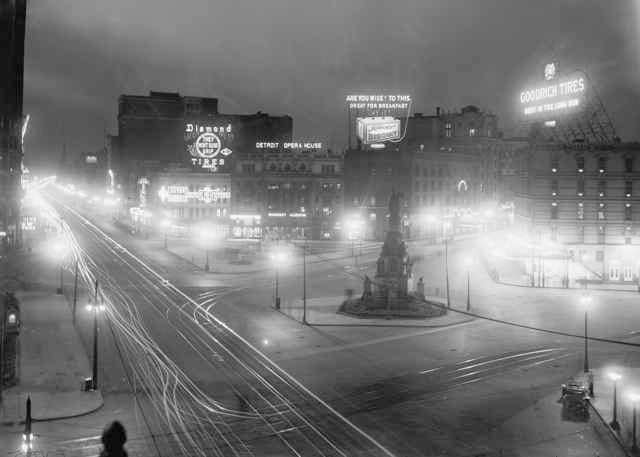Old Detroit Opera House Campus Martius Night City 1910