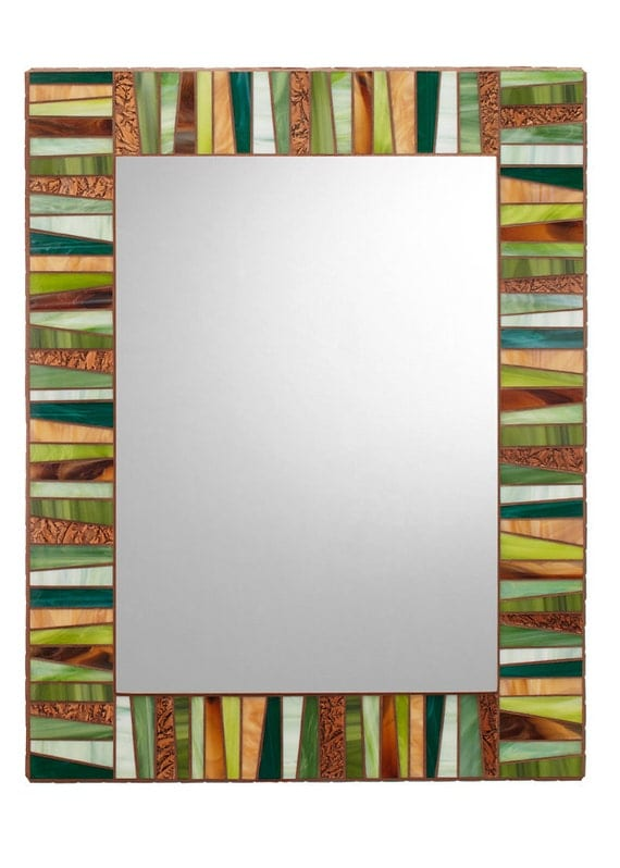 Green Amp Brown Stained Glass Mosaic Mirror