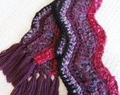 Orchid Berry Purple Pink Wavy Chevron Crocheted Scarf with Fringe By Distinctly Daisy
