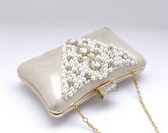 Bridal Clutch - hand beaded light golden satin with pearls and rhinestone