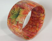 Flower Calligraphy Collage  Bangle Bracelet OOAK Wearable Art Statement Bracelet / Gift for Her