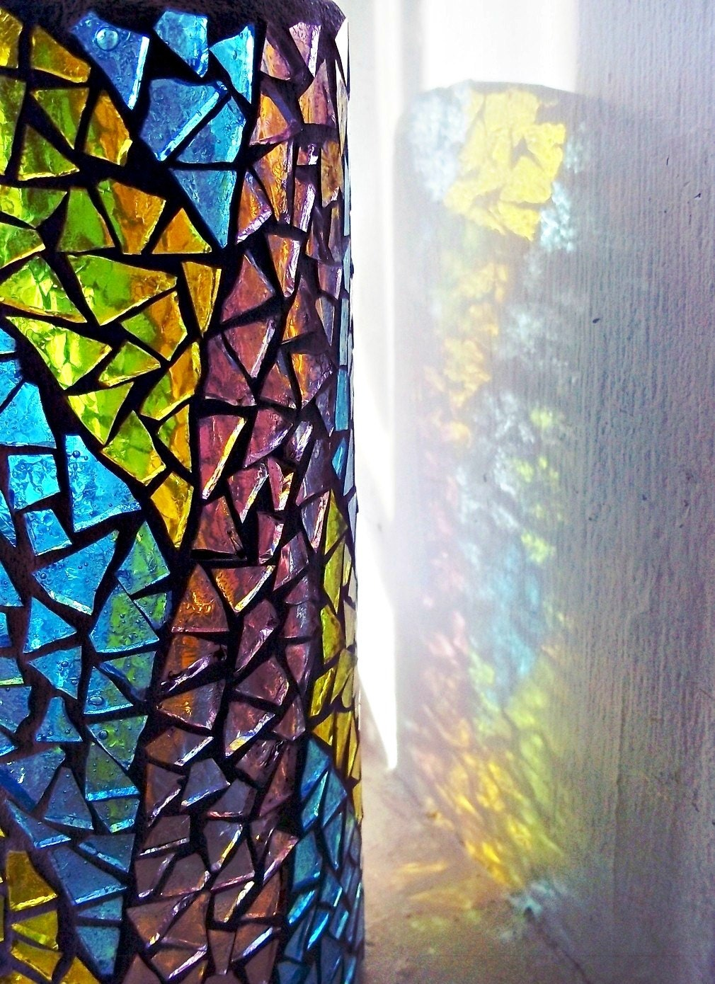 Etsy Mosaic Stained Glass Vase Candle Holder Yellow Aquamarine