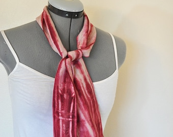 Wine Cotton Linen SCARF - Red Wine Tan Hand Dyed Tie Dye Hand Made Linen Cotton Scarf #22 - 5 x 46""