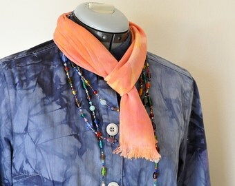 """Rayon Cotton SCARF - Pink Orange Hand Dyed Hand Made Tie Dye Rayon Scarf #2 - 7 x 50"""""""