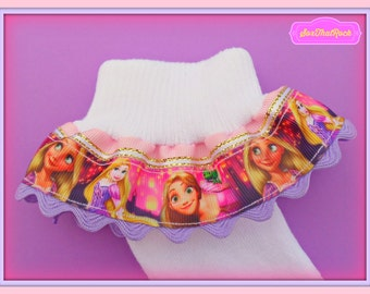 Disney Rapunzel inspired Boutique girls socks - handmade - you pick custom colors in top ribbon and ric rac trim.