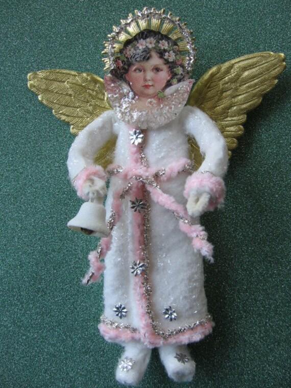 Vintage look christmas ornament cotton angel german scrap