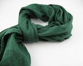 Handmade Linen Scarf --- Emerald