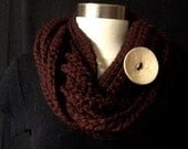 Chunky Crocheted Infinity Scarf in Cranberry