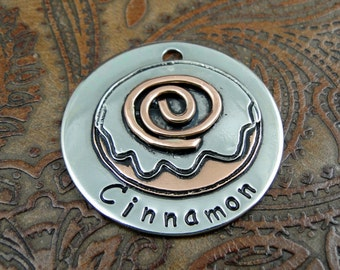 Custom Pet ID Tag, Cinnamon Bun ID Dog Collar Tag, Personalized Dog Tag for Dogs