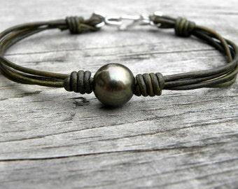 Sterling Silver Flower Pearl Olive Green Leather Bracelet
