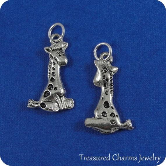 Giraffe Charm Bracelet: Silver Baby Giraffe Charm For