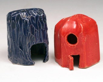 Red and Blue Ceramic Fairy Houses for Outdoor Garden or Indoor Plant