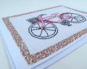 Embroidered Bicycle Note Card