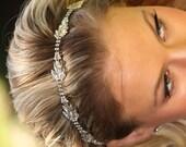 Zara Rhinestone Headband, Diamond Leaves Headwrap, Wedding Hair Accessory, Crystal Headband Leaves Halo