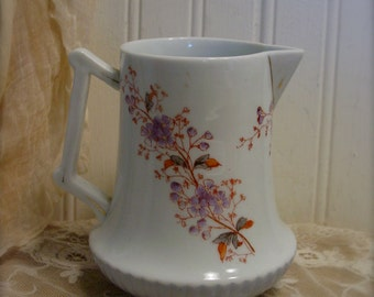 Vintage Ironstone Pitcher - Transferware - Floral Collectible - French Farmhouse Home Decor - Shabby Chic